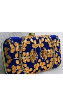 Hand Embroidery Fashion Clutch Bags in Blue Color | FH10341400 Follow Us @heenastyle  #Embroidery #Clutch #Fashion #Bags #Online #Clutchbag #BagsOnline #OnlineShopping #Heenastyle