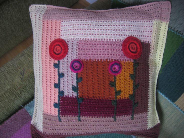 Poszewka na poduszkę wykonana szydełkiem