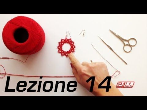 Chiacchierino Ad Ago - 14˚ Lezione Orecchino a Cerchio Con Perline Bijoux Tutorial Come Fare Tatting - YouTube