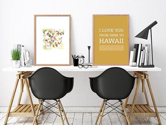 Hawaiian islands travel poster,Hawaiian decor,Hawaii art,Love Hawaii,Typography print Hawaii,Hawaiian typography art print,Hawaii art print by ArtMii