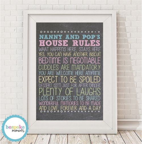 Personalised Grandparents' Rules Print by Bespoke Moments. Worldwide Shipping Available.