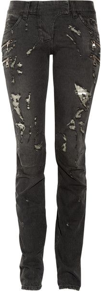 BALMAIN Distressed Low Rise Skinny Jeans