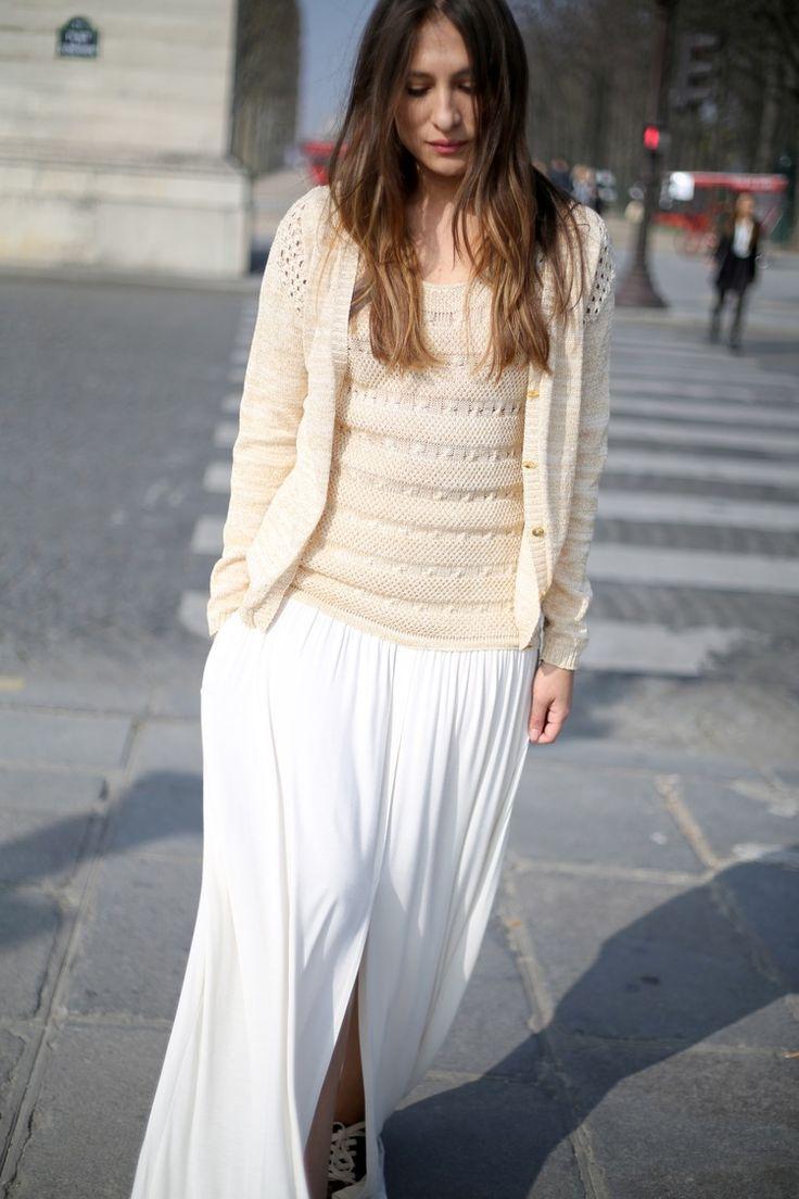 Urban Princess - Long white dress with handknitted cardigan