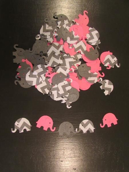 Pink Elephant Baby Shower Decoration, Baby Girl Shower Decoration, Elephant Party Stuff, Confetti, Reveal Party, Birthday, Die Cuts