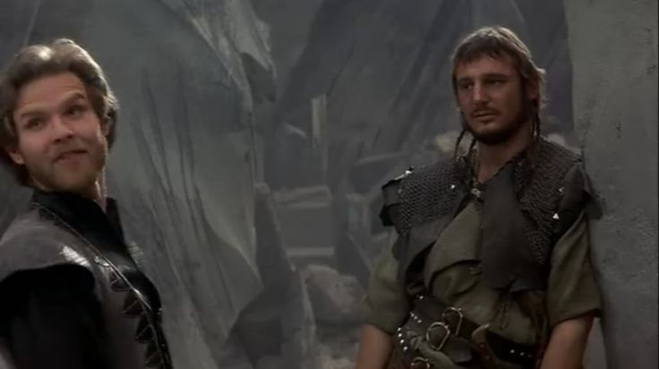 Ken Marshall and Liam Neeson as Colwyn and Kegan in Krull.