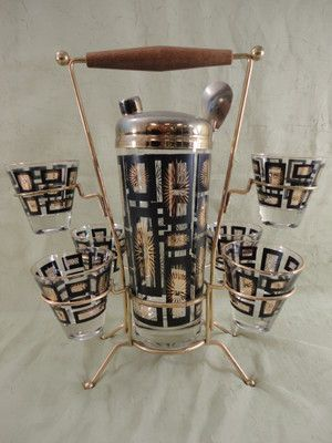 RETRO COCKTAIL SHAKER SET STARBURST DESIGN with CADDY, GLASSES & SPOON | eBay