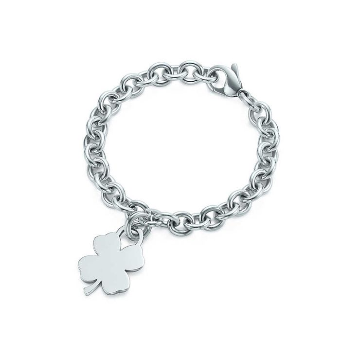 Four-leaf clover tag charm and bracelet in sterling silver. | Tiffany & Co. $125 - charm $180 - bracelet