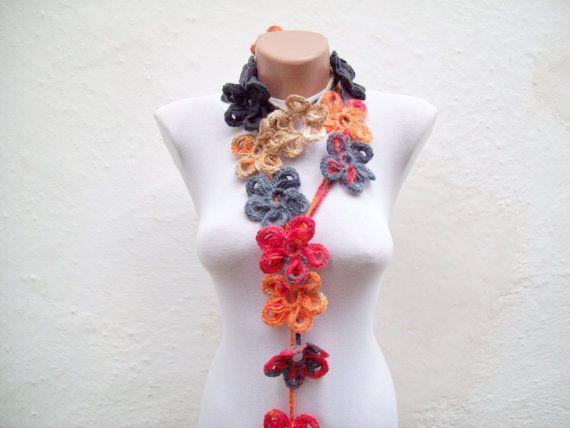 Handmade crochet Lariat Scarf  Red Orange Brown by scarfnurlu