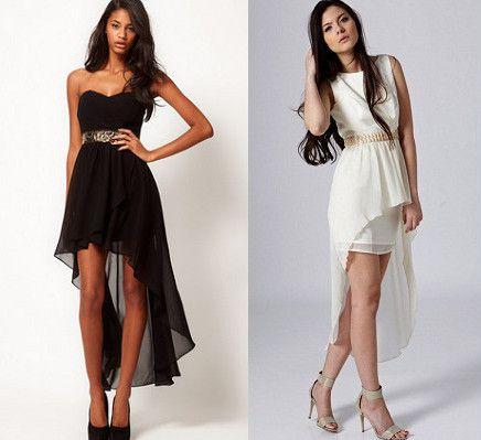 с чем носить платье спереди короткое сзади длинное