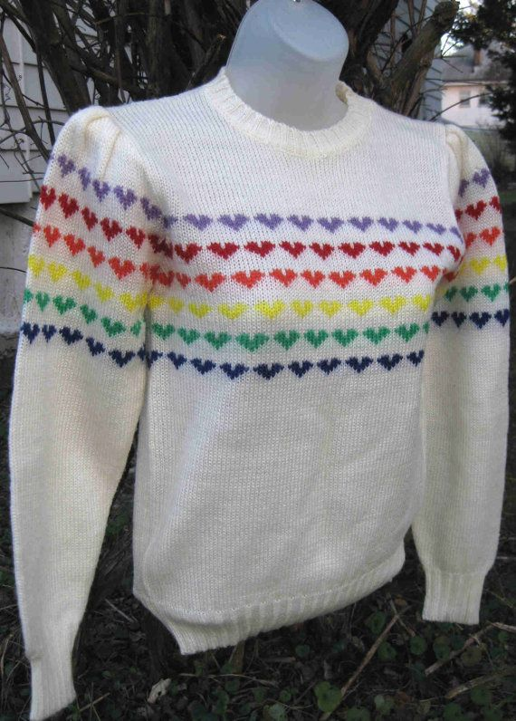 rainbow heart sweaters! I think every girl had a variation.