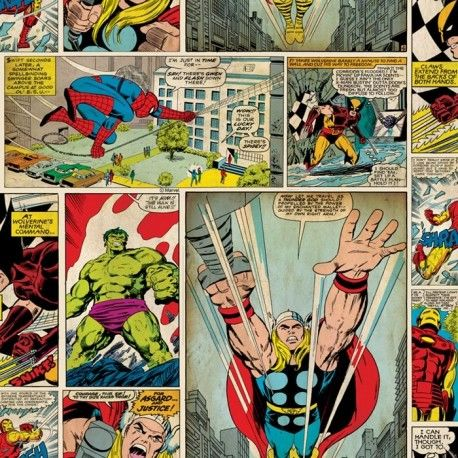 Vintage Marvel Comic Strip Wallpaper   http://www.wallpaperking.co.uk/wallpaper-online/3861-vintage-marvel-comic-strip-wallpaper-70-264.html