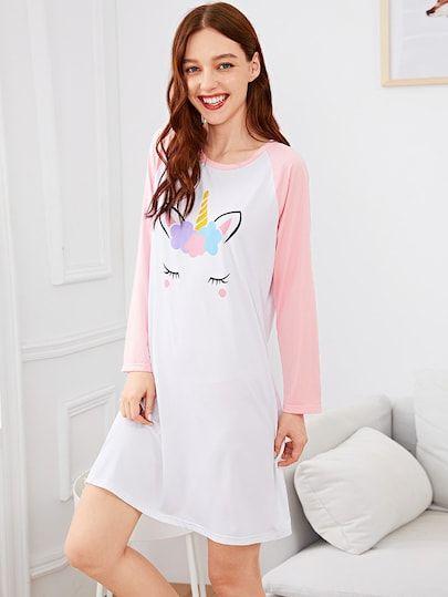 Christmas Unicorn Print Night Dress  3f4c0ad3b