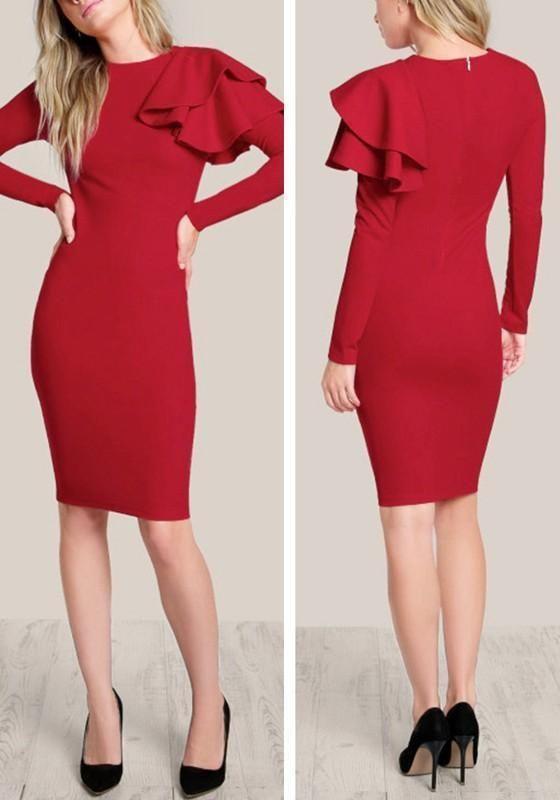 4c26d46531 Red Irregular Ruffle Long Sleeve Valentine s Day Elegant Bodycon Party Midi  Dress