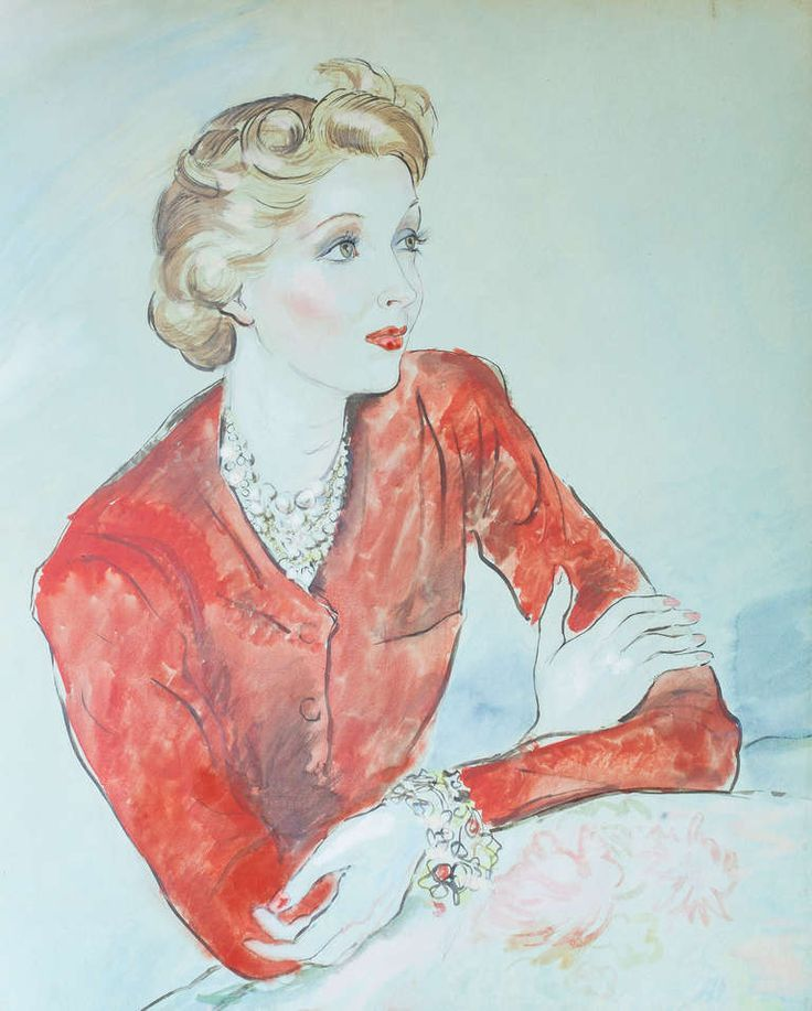 Portrait Of Ina Claire By Cecil Beaton | From a unique collection of paintings at http://www.1stdibs.com/art/paintings/