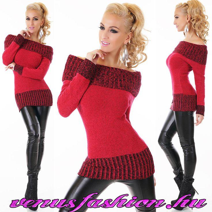 Divatos csónaknyakú piros kötött női pulóver - Venus fashion női ruha webáruház