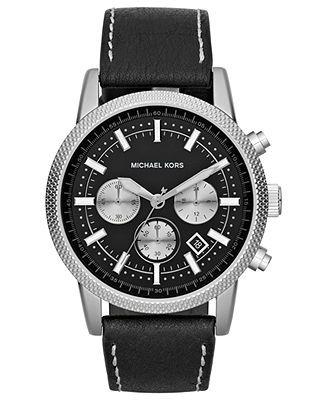 17 best images about michael kors michael kors anni gift michael kors watch men s chronograph scout black leather strap 43mm mk8310
