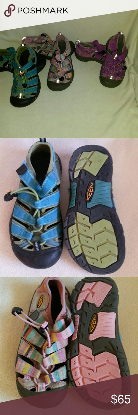 Kids Keen's 3PAIRS for 65.00 Girls youth KEEN-Newport H2 Sport sandals 2 pairs size 1. Blue green size 2 youths.  Add some adventure, flexibility & style on the trail or in the water.   These are washable (they have been washed) polyester webbing upper with aegis microbe shield makes this sandal versatile in any setting Quick draw elastic cord lace.  Theis style tends to run small.   For accurate fit you sould go up a 1/2 SIZE UP.  These have been loved but still has lots of wear left in…