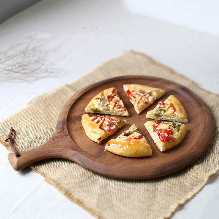 Acacia wood Block Circular Cutting board Plate Pizza Bread Cake Wood Fruit Tray