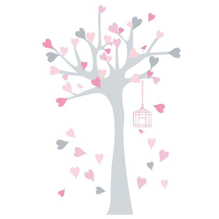 Sticker Arbre à coeurs gris et rose : Décoration pour enfants par lilipouce