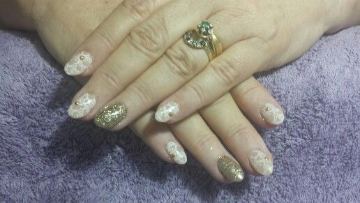 Gold and white lace nails