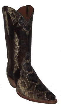 Black Jack Rattle Snake Triad Cowboy Boots with Collar #19