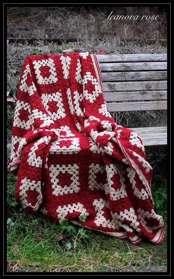 Red & white big granny square blanket (no pattern)