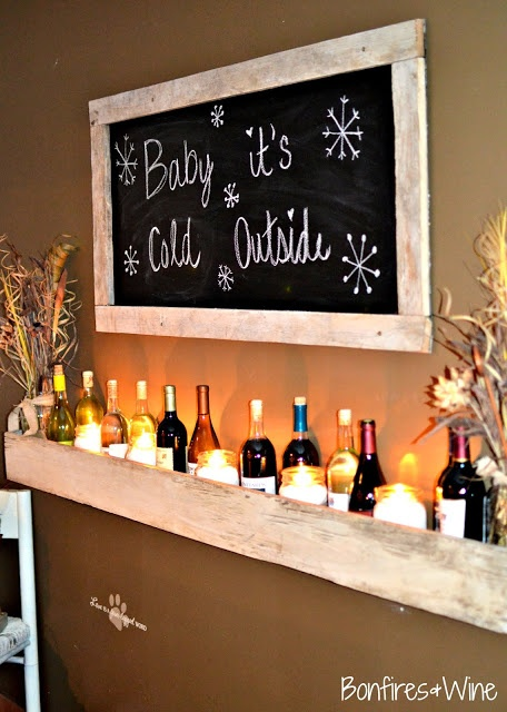 "How come no one told me this! What a cute addition to my dining room chalkboard wall.. a ""wine shelf"" filled with bottles."