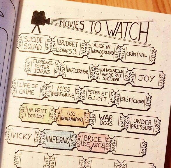 Films à voir Bujo | Idées de journal, Scrapbooking carnet, Bullet journal