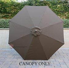 9ft Patio Outdoor Yard Umbrella Replacement Canopy Cover Top 8 RibsCocoaNew