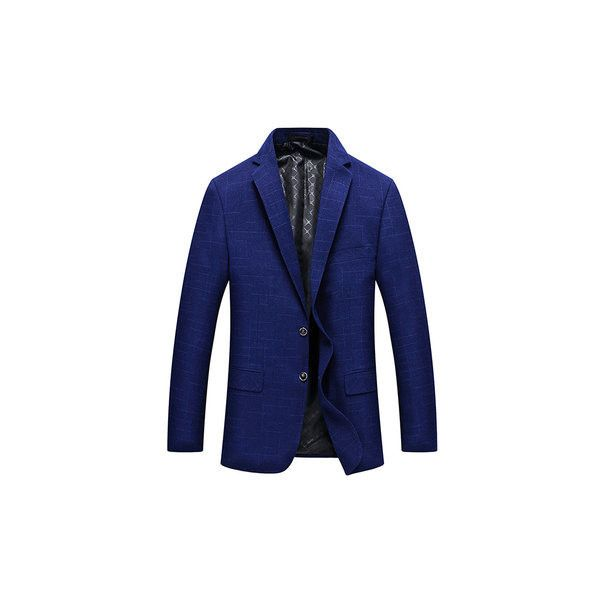 Slim Fit Business Casual Lapel Collar Chest Pocket Suit (190 BRL) ❤ liked on Polyvore featuring men's fashion, men's clothing, men's suits, men suit & blazers, royal blue, mens suits, mens royal blue blazer, mens two button suits, slim fit mens clothing and mens single breasted blazer
