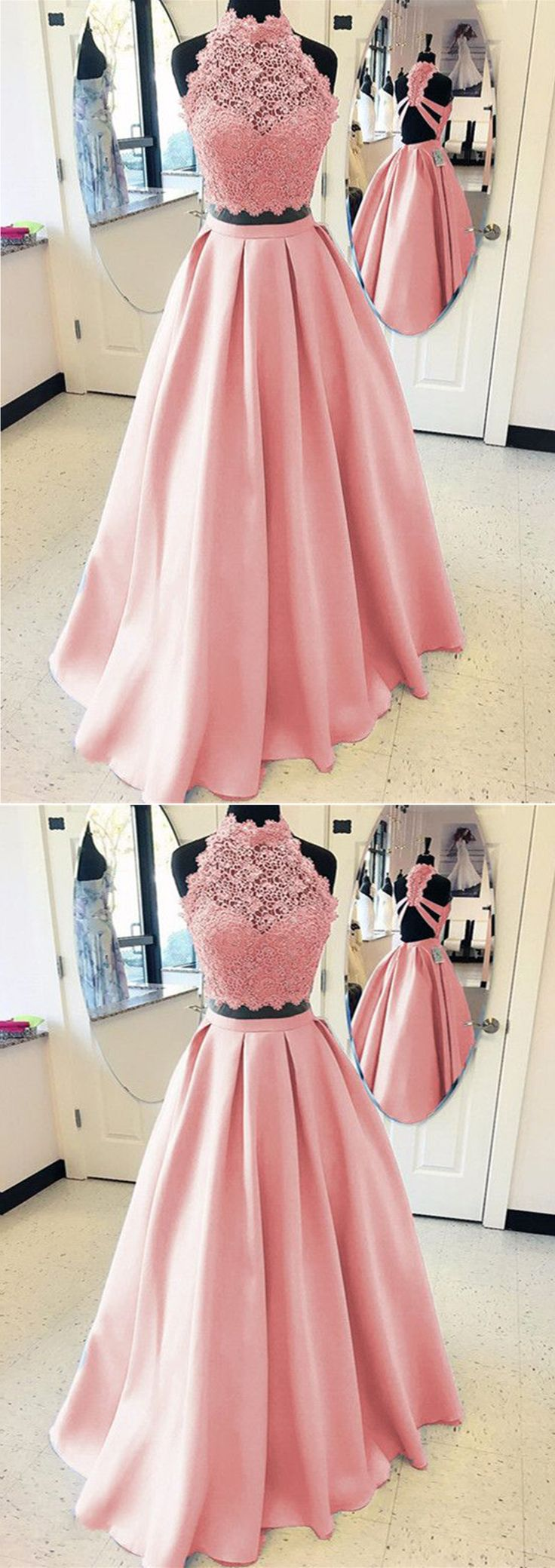 Cute high neck pink lace satin two piece long formal dress for teens #promdress #prom #dress