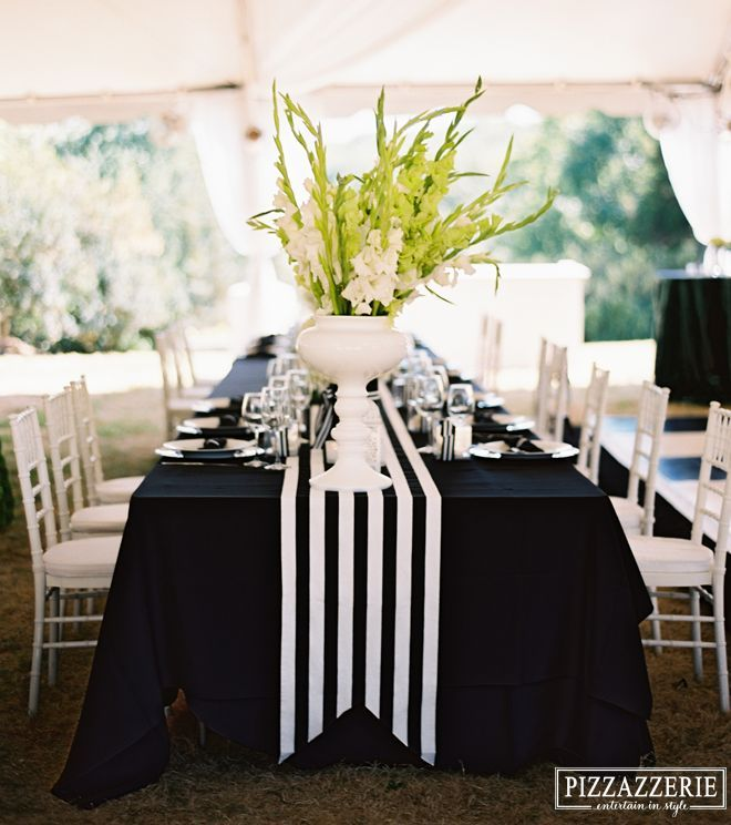 B&W: TABLES - Black Table Cloth, Narrow Striped Runner with Notched Ends.
