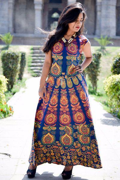 Wrap Dresses – Cotton Mandala Print Women Jaipuri Blue Long Dress – a unique product by IndianCraftPalace on DaWanda