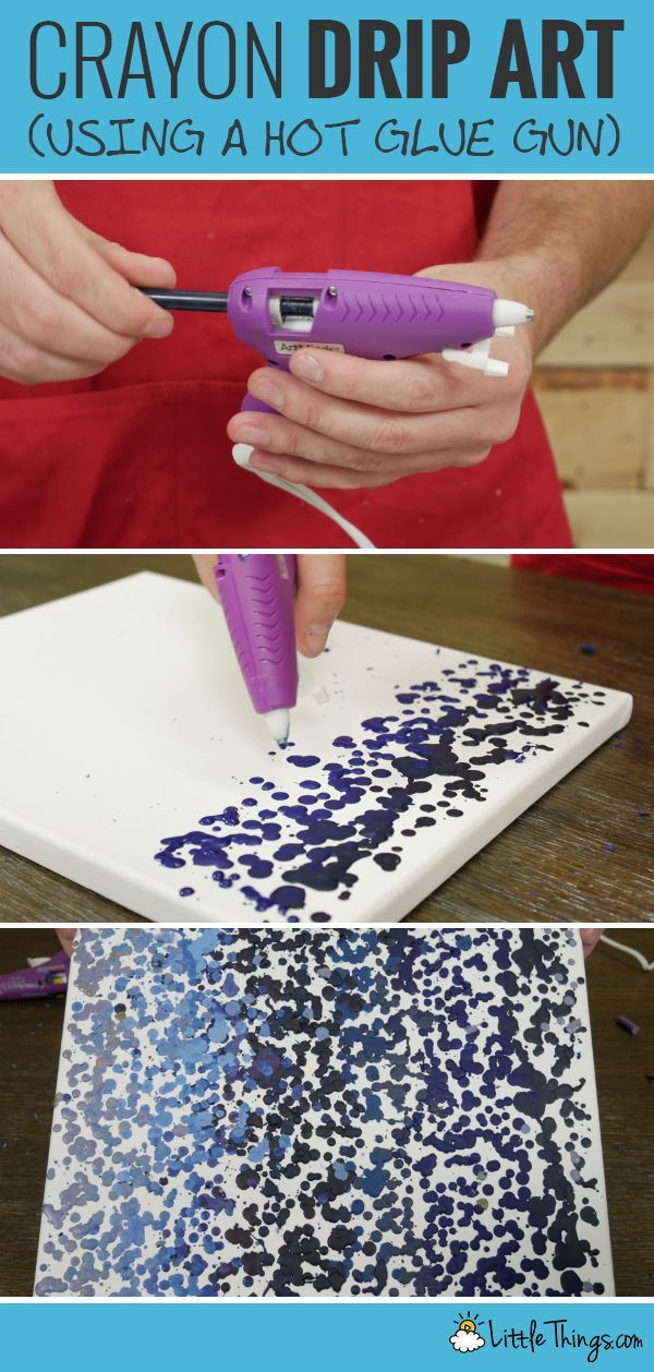 "These beautifully dripped wax ""paintings"" are easy enough for anyone to do --all you need are crayons, canvas, and a hot glue gun."