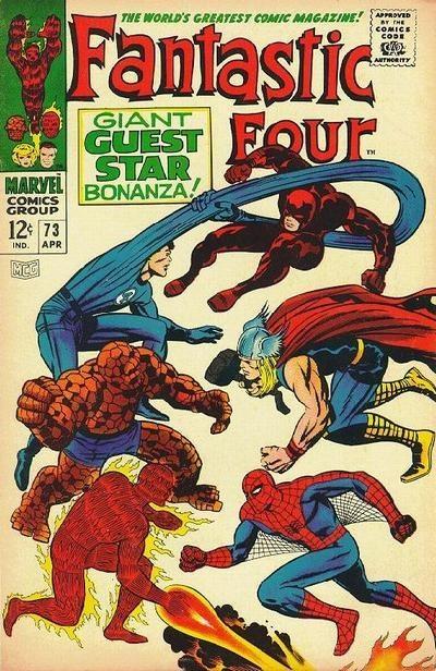 Fantastic Four # 73 [1968] – The Flames of Battle. FF vs Daredevil, Thor, & Spider-man.: Jack Kirby, Comics Book, Fantasticfour, Comics Covers, Marvel Comics, Mine Marvel, Jack O'Connel, Joe Sinnott, Fantastic Four