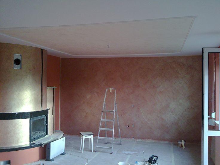 Kominek i ściany glinka wenecka,sufit stiuk