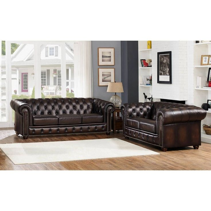 Hydeline by Amax Albany Top Grain Sofa and Loveseat Set