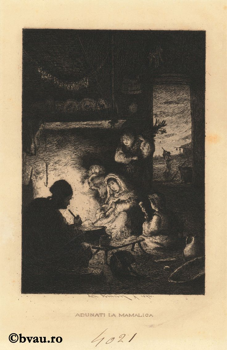 """Theodor Aman, Adunați la mămăligă, 1876. Imagine din colecțiile Bibliotecii """"V.A. Urechia"""" Galați."""