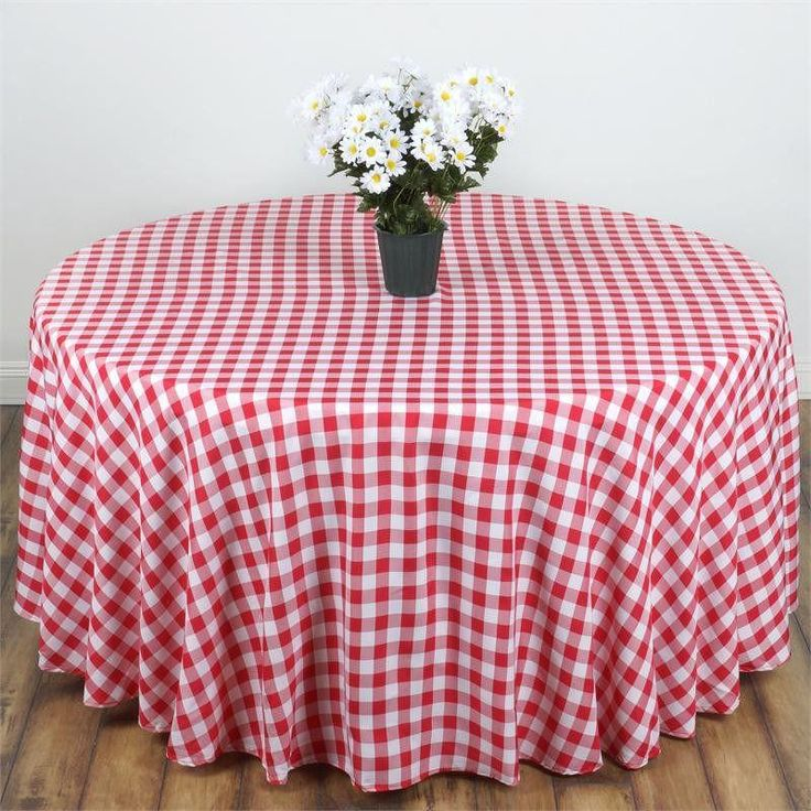 """90"""" White/Red Perfect Picnic Inspired Checkered Round Polyester Tablecloths"""