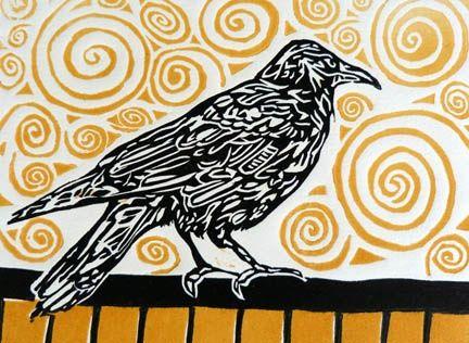 Watching Crow- Lino, 2 plate 8x6   Alexa Thornton