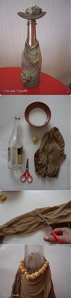 «Бутылка-дама» Мастер-класс Галины Тиховой. | ШАГ НАВСТРЕЧУ