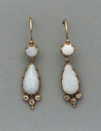 Pair of opal & diamond earrings, mid-19th century …