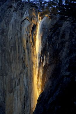 The highest fully-airborne waterfall in Yosemite, which for a few minutes on a few days each year, turns a luminescent fiery orange