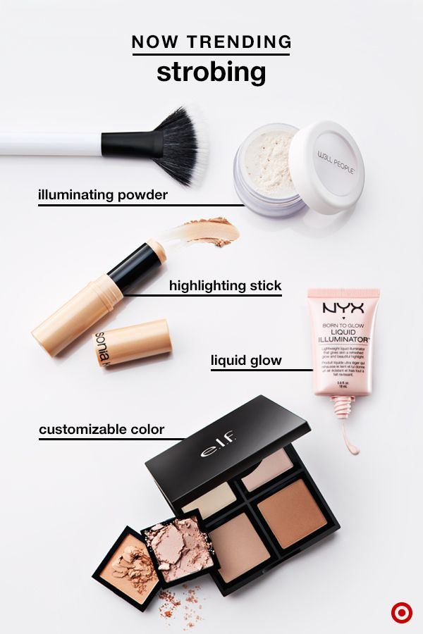 Strobing has hit the makeup world by storm. Here's what's what for a radiant glow from beginner to pro: W3LL People Illuminator Powder is a lightweight formula for a fail-proof glow with one sweep along the cheekbone; Sonia Kashuk Luminostiy Highlighter Stick is mess-free & easy to control with slightly thicker coverage; NYX Born to Glow Liquid Illuminator is a concentrated shine that blends easily; e.l.f. Illuminating Palette offers a range of colors for customized highlighting…