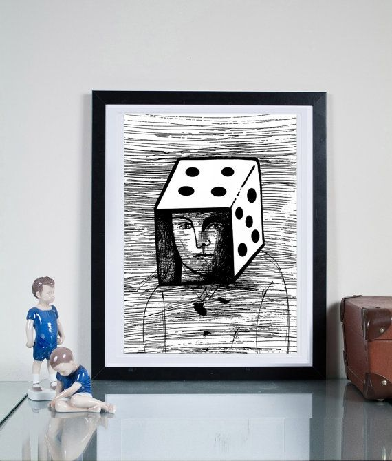 play with me ... Illustration art giclée print by Tomek Wawer #black #head #dice #poster #Tomasz Wawer