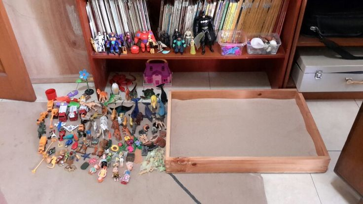 Figurines and sand tray where children can express themselves.