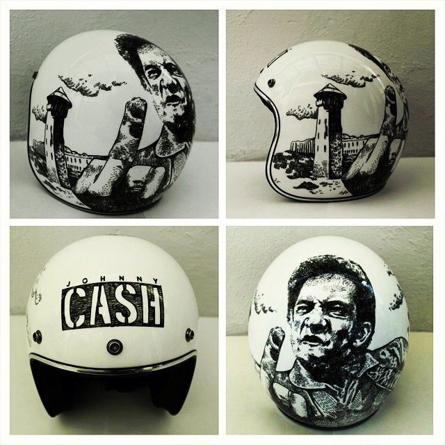 Jonny Cash custom helmet. By @customlids