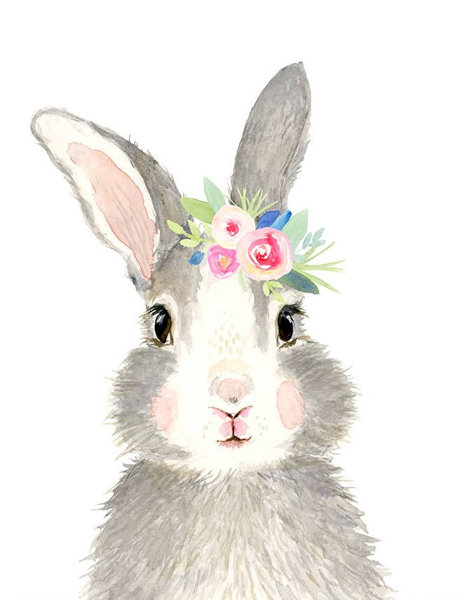 Watercolor Grey Baby Rabbit Rabbit Painting Woodland