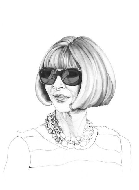 Illustration - Carmen Garcia Huerta - The Mushroom Company - anna wintour portrait