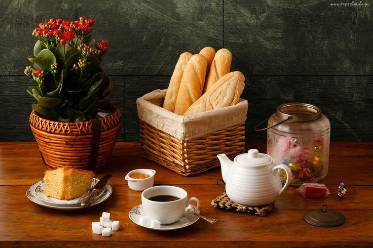 Kwiaty, Kalanchoe, Bułki, Kawa, Ciasto